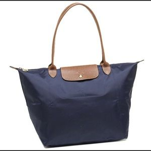 Authentic Longchamp Le Pliage Large Tote Navy New